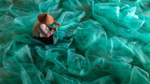 The girl with a fishing net